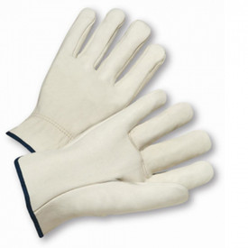 PIP White Straight Thumb Leather Driver Work Glove - White leather glove with black trim on cuff.