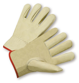 PIP Chrome Free Leather Driver Work Glove - Pair of two tan leather safety work gloves with red hem.