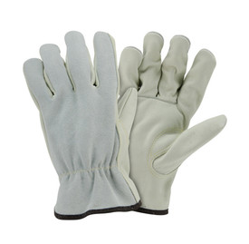 PIP Kevlar Sewn Leather Driver Work Glove - Pair of two yellow and gray leather safety work gloves.