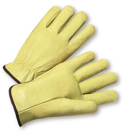 PIP Heat Resistant Leather Driver Work Glove - Pair of two yellow leather safety work gloves with tight fit wrist and black hem.