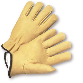 PIP Premium Pigskin Positherm Lined Leather Glove - Pair of two yellow tan leather gloves with black hem and white interior.