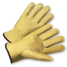 PIP Premium Pigskin Leather Driver Work Glove - Pair of two yellow leather safety work gloves with black hem.