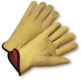PIP Premium Pigskin Fleece Lined Leather Driver Glove - Pair of two yellow tan leather gloves with black hem and red interior.