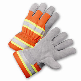 PIP Hi-Viz 3M Reflective Leather Palm Work Glove - Pair of two yellow and orange high visibility safety work gloves with knuckle strip and wrist guard.
