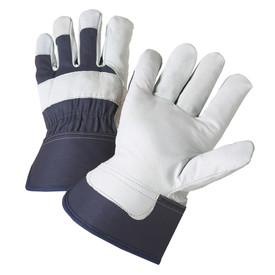 PIP Goatskin Leather Palm Work Glove - Pair of two dark and light gray safety work gloves with wrist guards.