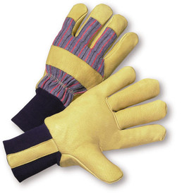 PIP Leather Palm Pigskin Work Glove - Yellow and gray styled work gloves with black elastic fabric wrist and yellow knuckle guard.