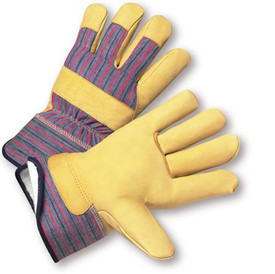 PIP Leather Palm Thinsulate Lined Work Glove - Pair of two yellow and gray styled safety work gloves with black hem and styled wrist guard.