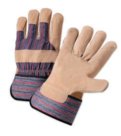 PIP Tanned Pigskin Leather Palm Work Glove - Pair of two tan and gray styled safety work gloves with knuckle strip and styled wrist guard.