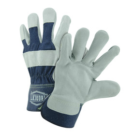 PIP IronCat 2.5 Inch Safety Cuff Leather Palm Work Gloves - Two blue and gray leather palm work gloves with wrist cuff cover flap.