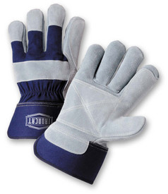 West Chester IronCat Heavy Leather Double Palm Work Gloves - Two blue and gray leather palm work gloves with wrist cuff cover flap and extra palm layer.