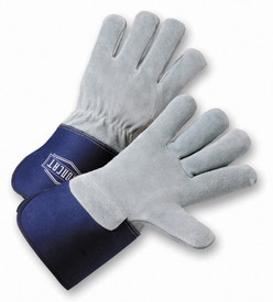 West Chester IronCat Heavy Cowhide Leather Back Welted Seams Work Gloves - Two gray leather palm work gloves with blue wrist cuff cover flap.