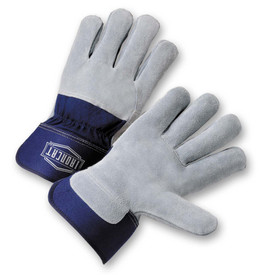 West Chester IronCat 3/4 Cowhide Leather Back Elastic Wrists Work Gloves - Two elastic gray leather palm work gloves with blue wrist cuff cover flap.