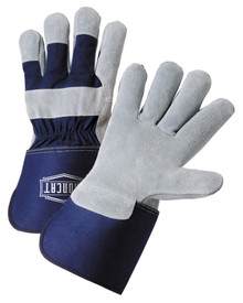 West Chester IronCat Cowhide Leather Palm 4.5 Inch Gauntlet Cuff Work Gloves - Two elastic blue and gray leather palm work gloves with blue wrist cuff cover flap.