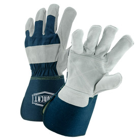 West Chester IronCat Leather Palm Rubberized Gauntlet Cuff Work Gloves - Two elastic blue and gray leather palm work gloves with blue wrist cuff cover flap and double palm.