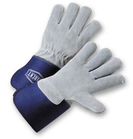 PIP IronCat Leather Palm Kevlar Sewn Work Gloves - Two gray leather palm work gloves with blue wrist cuff cover flap.