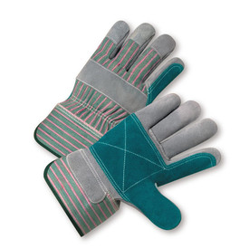 PIP Double Leather Palm Work Glove - Pair of two green and red styled safety work gloves with knuckle strip and double blue leather palm.