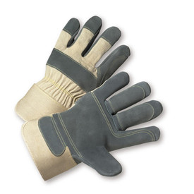 PIP Kevlar Thread Double Leather Palm Work Glove - Pair of two tan and dark gray safety work gloves with tan wrist guards and tan hem.