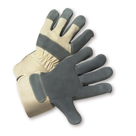 West Chester Kevlar Thread Leather Palm Work Glove - Pair of two tan and dark gray safety work gloves with wrist guards.