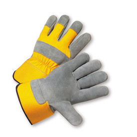 PIP Yellow Heavy Canvas Leather Palm Work Glove - Pair of two bright yellow and gray safety work gloves with knuckle strip and yellow wrist guard.