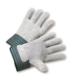 West Chester Leather Back Leather Palm Work Glove - Pair of two gray safety work gloves with green and red styled wrist guard.