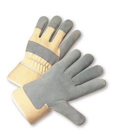 PIP Washable Cuff Leather Palm Work Glove - Pair of two tan and gray safety work gloves with knuckle strip and tan wrist guard.