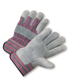 West Chester Plasticized Cuff Leather Palm Work Glove - Gray and red styled safety work gloves with black hem knuckle strip and finger tip layers.