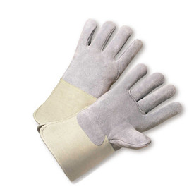 PIP Full Back ANSI 2 Leather Palm Glove - Pair of two gray safety work gloves with tan wrist guards.