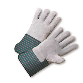 PIP Heavy Full Leather Back & Palm Glove - Pair of two gray safety gloves with gray palms and green and red styled wrist guards.