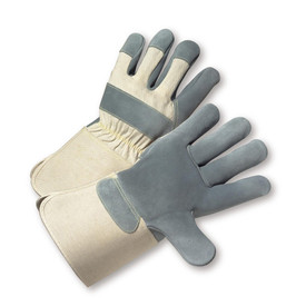 PIP Premium Duck Canvas & Leather Palm Glove - Pair of two tan and gray safety work gloves with tan wrist guards.