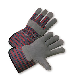 PIP 4.5 Inch Gauntlet Leather Palm Glove - Pair of two tan and red safety gloves with styled wrist guard and gray palm.
