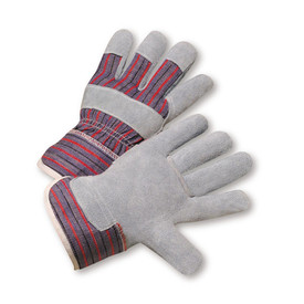 PIP Unisex Economy Leather Palm Work Glove - Gray and red styled safety work gloves with knuckle strip and finger tip layers.