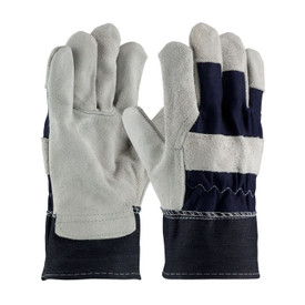 PIP 85-DB7563 Economy Leather Patch Palm Work Glove - Grey work gloves with black accent color on back of hand and cuff.