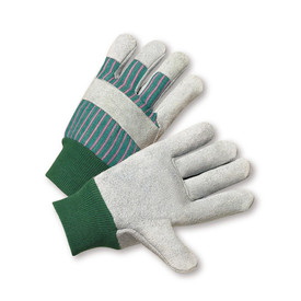 PIP Men's & Women's Cowhide Leather Glove - Pair of two green and red styled safety work gloves with green elastic fit wrists and knuckle strip.