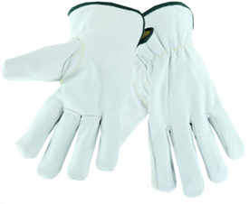 PIP Insulated Cut-Resistant Arc Flash Protection Driver Work Glove - White premium leather gloves with black cuff and knit interior.