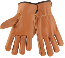 PIP Oil Armor Goatskin Insulated Work Glove - Premium brown leather glove with black cuff accent and white stitching around wrist, thumb, and up the forefinger.