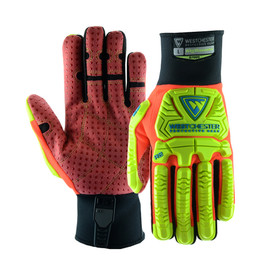 PIP Oil Resistant PVC Dotted Rigger Glove - Orange and yellow high visibility safety work gloves with yellow foam padding and black wrists.