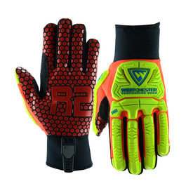 PIP Oil Resistant Silicone Palm Rigger Glove - Orange and yellow high visibility safety work gloves with red hexagon style palms and yellow foam padding.