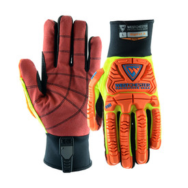 PIP Cut Resistant ANSI 2 PVC Palm Rigger Glove - Orange and yellow high visibility safety work gloves with red coated palms and yellow foam padding.