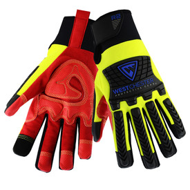 PIP Hi-Viz Hook & Loop Cuff Rigger Glove - Red and yellow high visibility work gloves with black foam padding and extra layer palm.