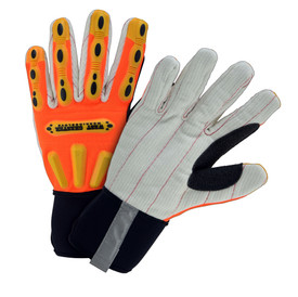 PIP Fleece Lined Long Neoprene Cuff Hi-Viz Glove - Orange and gray safety work gloves with yellow rubber padding and black thumb grip.
