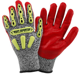 PIP Nitrile Palm Coated Red Foam ANSI 3 Glove - Gray and red coated safety work gloves with yellow rubber padding and black hem.