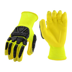 PIP Hi-Viz Yellow Nitrile Abrasion Resistant Glove - Pair of two yellow high visibility safety work gloves with outer rubber treading.