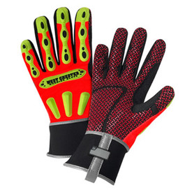 PIP Thinsulate Lined Oil Resistant Rigger Glove - Bright red high visibility safety work gloves with yellow foam padding and red design.