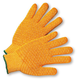 PIP Reversible Poly/Cotton Orange PVC Dotted 2 Sided Knit Gloves - Pair of two orange knit safety gloves with criss-cross pattern and green hem.