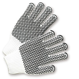 PIP Reversible Poly/Cotton Black PVC Dotted 2 Sided Knit Gloves - Pair of two white knit work gloves with two sided black hexagon coating design.