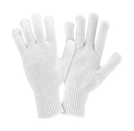 PIP Premium White String Knit PVC Dotted Glove - Pair of two white knit safety gloves with hexagon palm style.