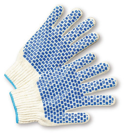 PIP Mid-Weight Reversible Blue PVC Block Dots Poly/Cotton Knit Glove - Pair of two white knit safety gloves with blue rectangle pattern palm coating.