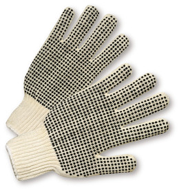 PIP Mid-Weight 2 Sided PVC Dotted Knit Wrist Poly/Cotton Knit Glove - Pair of two tan knit safety gloves with dotted rubber coating for high grip and fabric elastic fit wrists.