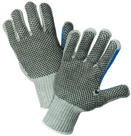 PIP Heavy Weight 2 Sided Gray PVC Dotted Poly/Cotton Knit Glove - Pair of two gray and blue knit safety gloves with dotted rubber coating for high grip and fabric elastic fit wrists.