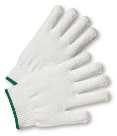West Chester 100% Nylon White String Knit Glove - Pair of two white knit safety work gloves with fabric elastic fit wrists and magenta hem.